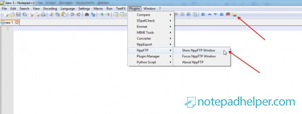 Notepad ++ and FTP connection: NppFTP plugin