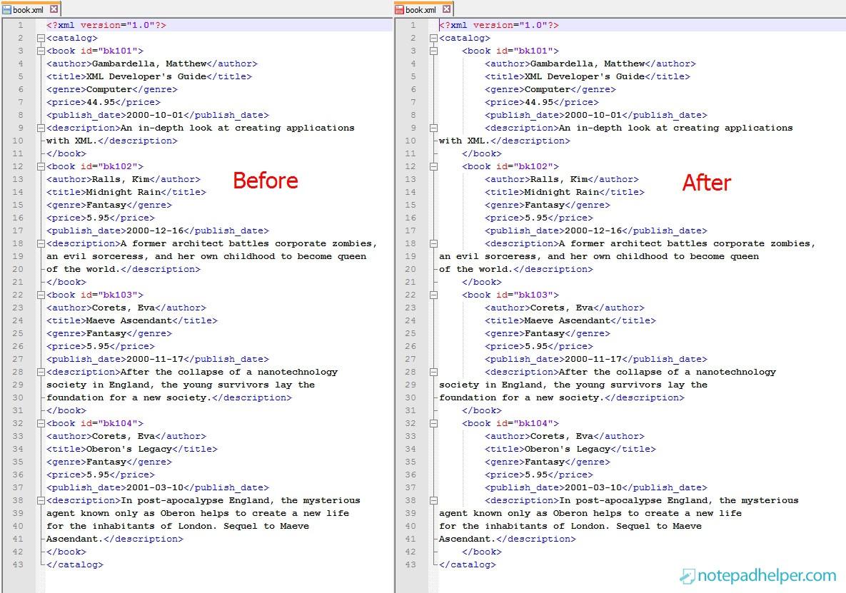 XML Tools plugin for Notepad++
